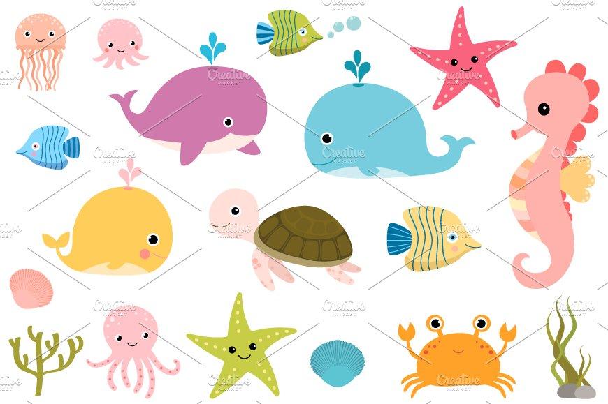 Cute sea animals clipart set ~ Illustrations ~ Creative Market