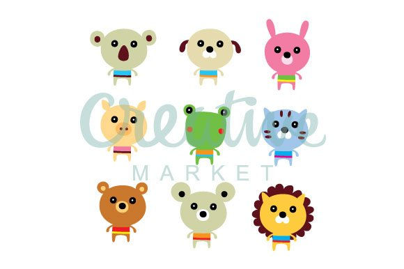Cute Animals Vector Set in Illustrations - product preview 1