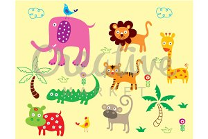 Cute Safari Animals Vector Set