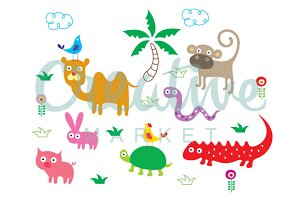 Safari Animals Poster Vector