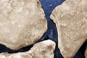 Stones in sea water