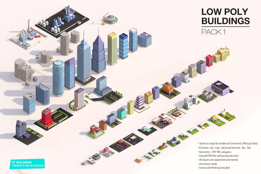 Low Poly Buildings Pack ~ Architecture Models ~ Creative Market