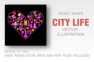City Life heart shape vector