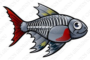 XRay Tetra Fish Cartoon Character