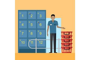 Lockers and Security Personnel in Supermarket