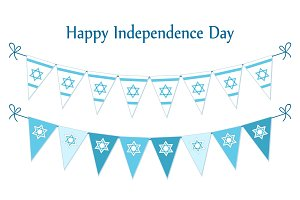 Cute festive bunting flags with traditional Jewish star for Israel Independence Day