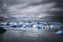 Glacial lagoon with icebergs