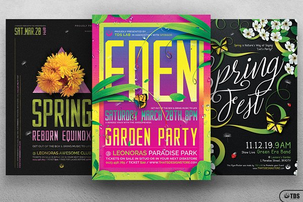 Flyer Templates: Thats Design Store - Spring Festival Flyer Bundle