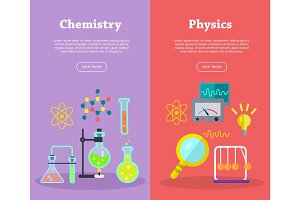 Chemistry and Physics Science Banners. Vector