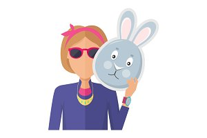 Woman with Rabbit Mask Flat Design Vector