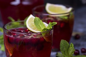 fresh cranberry juice in a glass