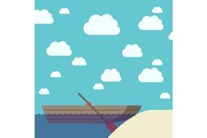 Boat near sand beach