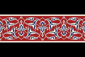 Ottoman Floral Seamless Border
