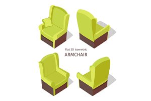 Green Armchair Illustration in Isometric Projection