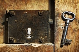 keyhole old with antique key