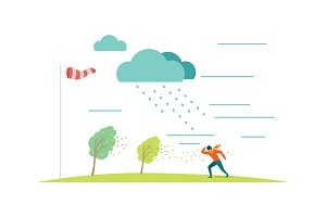Bad Weather Vector Concept in Flat Design