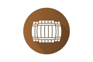 Alcohol wooden barrels. Flat design long shadow icon