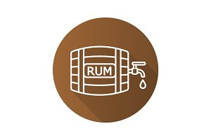Rum wooden barrel. Flat linear long shadow icon