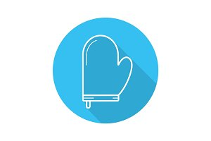 Oven mitt flat linear long shadow icon