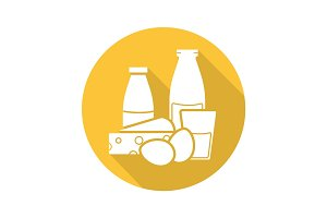 Dairy products flat design long shadow icon