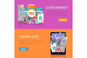 Sale in Electronics Store Vector Web Banners
