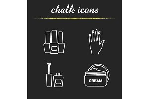 Manicure chalk icons set