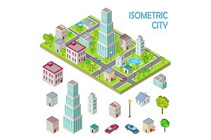 Set of City Buildings in Isometric Projection