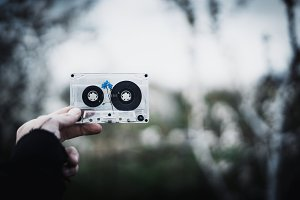 Old cassette tape with flower inside