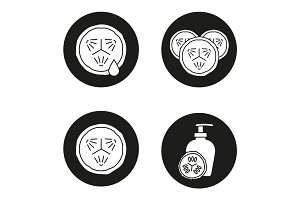Cucumbers in cosmetology icons set