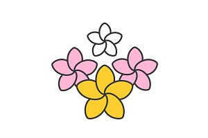 Spa salon plumeria flowers color icon