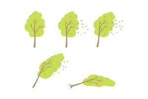 Strong Wind Topple Tree Vector in Flat Design