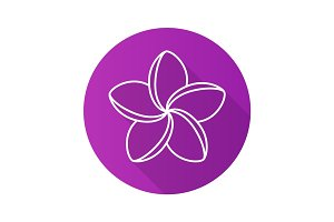 Spa salon plumeria flower. Flat linear long shadow icon