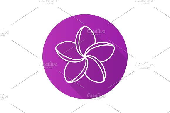 Spa Salon Plumeria Flower Flat Linear Long Shadow Icon