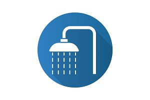 Shower flat design long shadow icon