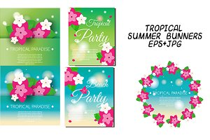 Tropical, summer banners, flyers