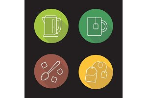 Tea flat linear long shadow icons set