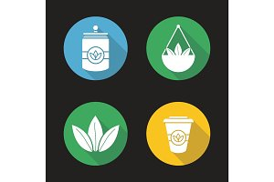 Tea flat design long shadow icons set