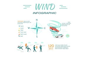Wind Infographic Flat Design Vector Illustration