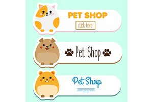 Pet shop banners with cute pets