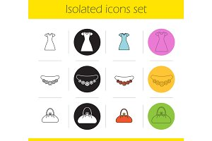 Women's accessories icons set