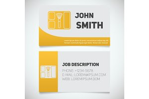 Business card print template with blusher logo