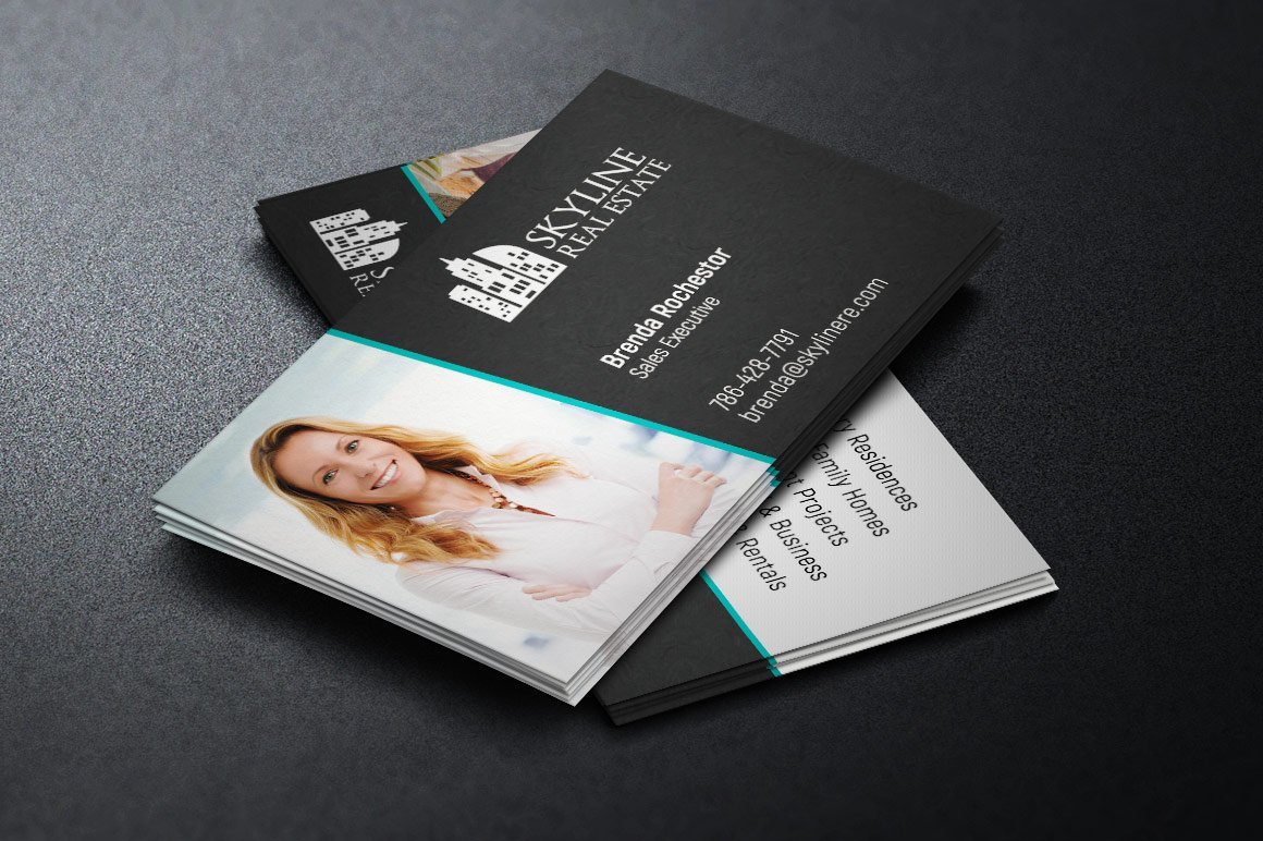 Real estate business card template business card templates real estate business card template business card templates creative market wajeb Images