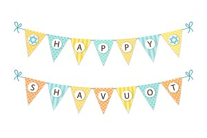 Cute festive bunting flags with letters for Shavuot