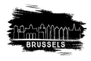 Brussels Skyline Silhouette.
