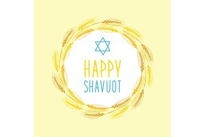 Cute festive wreath Happy Shavuot