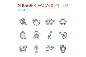 Island beach icon set. Summer. Vacation