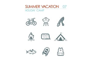 Summer camping icon set. Summer. Holiday
