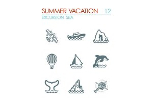 Excursion sea icon set. Summer. Vacation