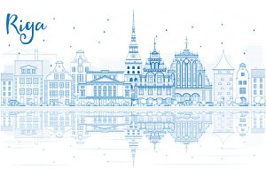 Outline Riga Skyline