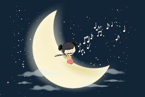 Flautist playing on the moon